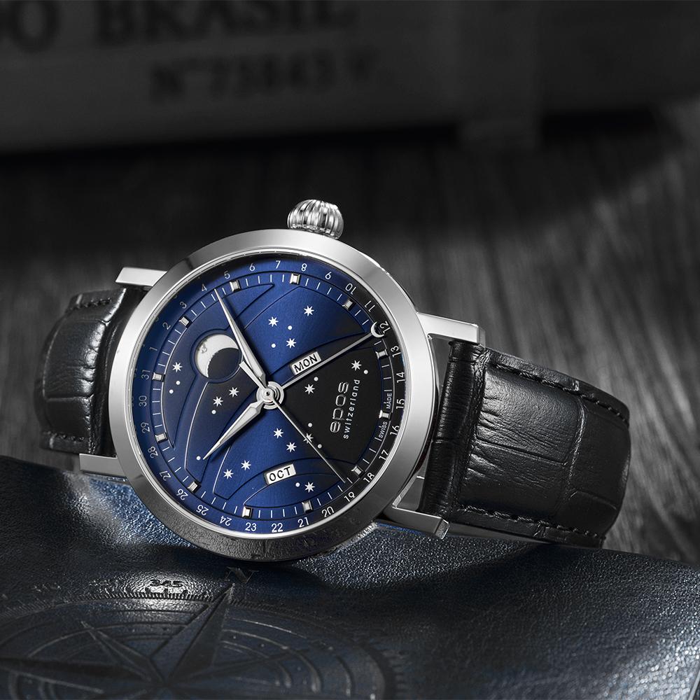 Zegarek EPOS Oeuvre D`art Big Moon z gwieździstą tarcza