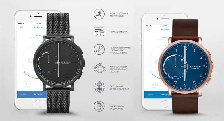 Hybrydowe smartwatche Skagen connected na brązowym pasku oraz czarnej bransolecie typu mesh.  Tarcze zegarków są w czarnym jak i niebieskim kolorze.