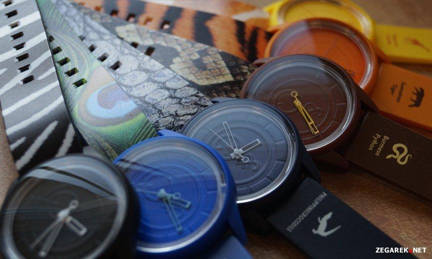 ekologiczne zegarki wykonane z recyklingowych materiałów nawiązują do gatunków zwierząt zagrożonych wyginięciem.