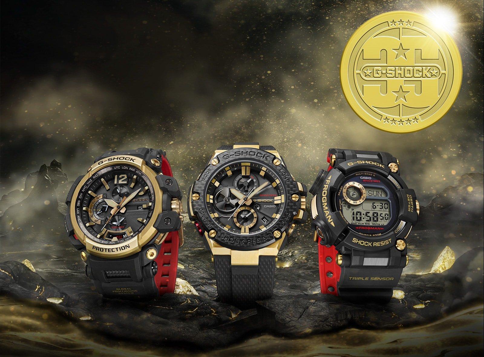 Limitowane zegarki G-Shock Gold Tornado na symbolicznym czarnym pasku z tworzywa sztucznego, z czerwonym spodem oraz złotymi akcentami.