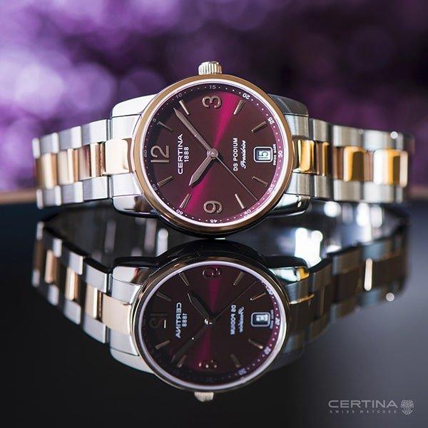 Elegancki. damski zegarek Certina z bordową tarczą.