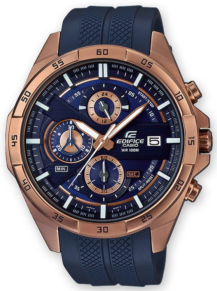Sportowy, męski zegarek Casio Edifice EFR-556PC-2AVUEF na pasku z tworzywa sztucznego w niebieskim kolorze oraz kopercie ze stali w kolorze różowego-złota. Analogowa tarcza jest w niebieskim kolorze z subtarczami.
