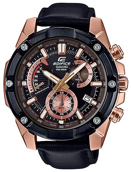 Klasyczny, męski zegarek Casio Edifice EFR-559BGL-1AVUEF Momentum na czarnym, skórzanym pasku ze stalowa kopertą w kolorze różowego złota. Analogowa tarcza zegarka Edifice jest w czarnym kolorze z subtarczami w kolorze różowego złota z białymi i czerwonymi zdobieniami.