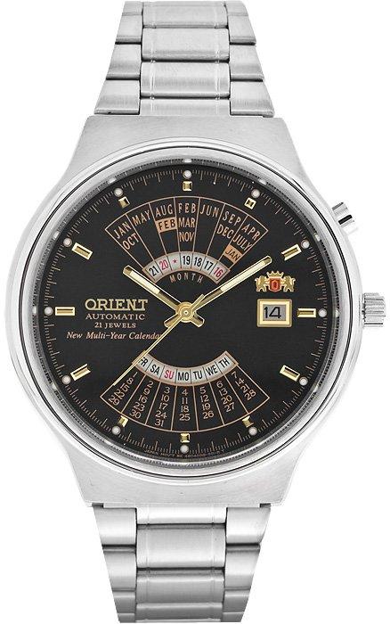 Klasyczny, męski zegarek Orient FEU00002BW na stalowej, srebrnej bransolecie w klasycznym stylu. Analogowa tarcza w kolorze w kolorze czarnym jest otoczona przez okrągłą kopertę ze stali w srebrnym kolorze.