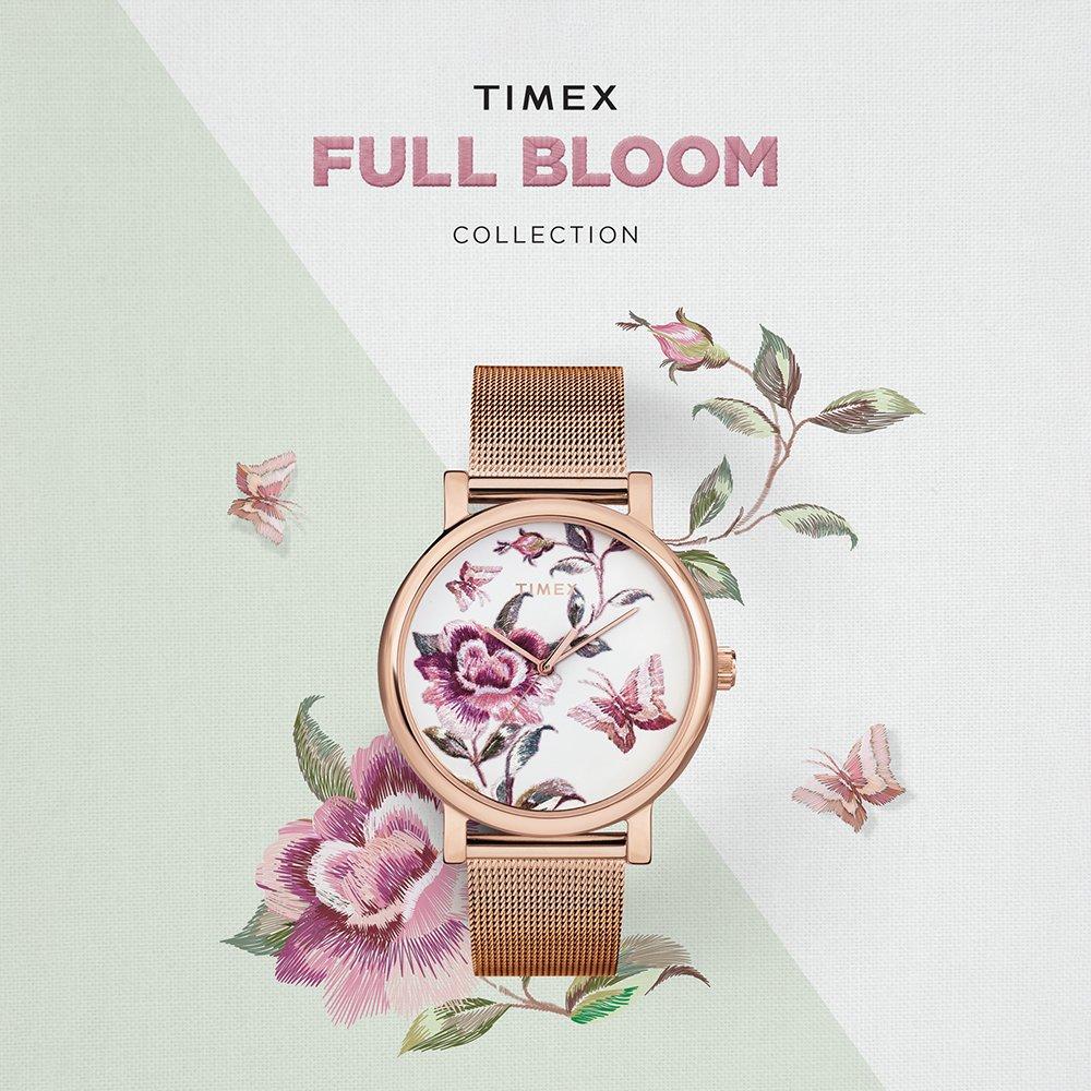 Roślinne wzory w zegarkach damskich Timex Full Bloom