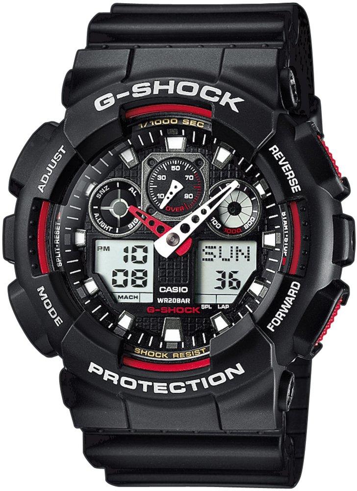 Wytrzymały, męski zegarek G-Shock GA-100-1A4ER na pasku z tworzywa sztucznego w czarnym kolorze, koperta z tworzywa sztucznego w czarnym kolorze. Zegarek ten posiada analogowo - cyfrową tarczę w czarnym kolorze z czerwonymi akcentami.