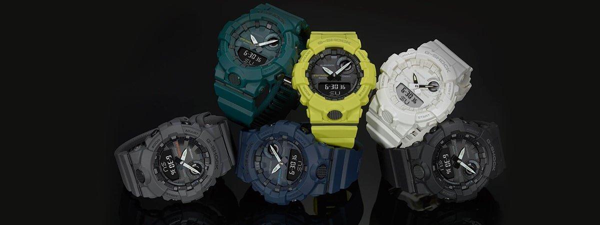 Oryginalne zegarki G-Shock w różnych kolorach.
