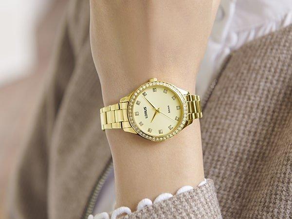 Piękny zegarek Lorus z cyrkoniami na indeksach.
