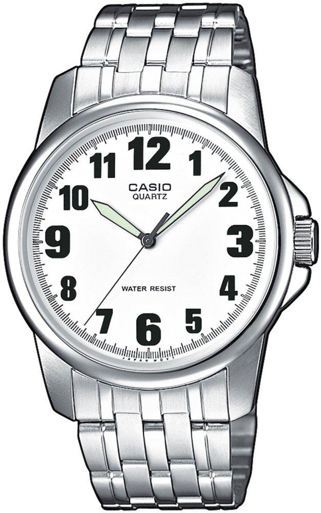 Klasyczny, męski zegarek Casio MTP-1260D-7B MTP-1260D-7BEF na stalowej srebrnej bransolecie oraz kopercie z białą przejrzstą tarczą z wskazówkami pokrytymi Neobrite.