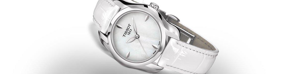 Elegancki zegarek Tissot na białym pasku