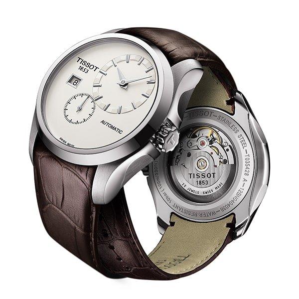 Automatyczny zegarek Tissot na brązowym pasku ze skóry.