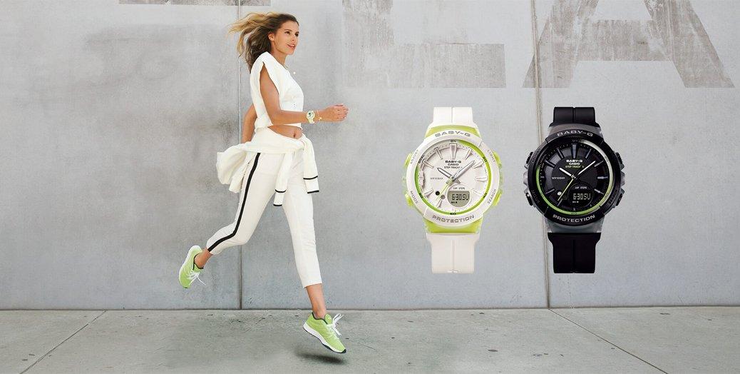 Sportowe, damskie zegarki Casio Baby-G Step Tracker w dwóch unikalnych kolorach- biało-zielonym oraz czarno-zielonym.