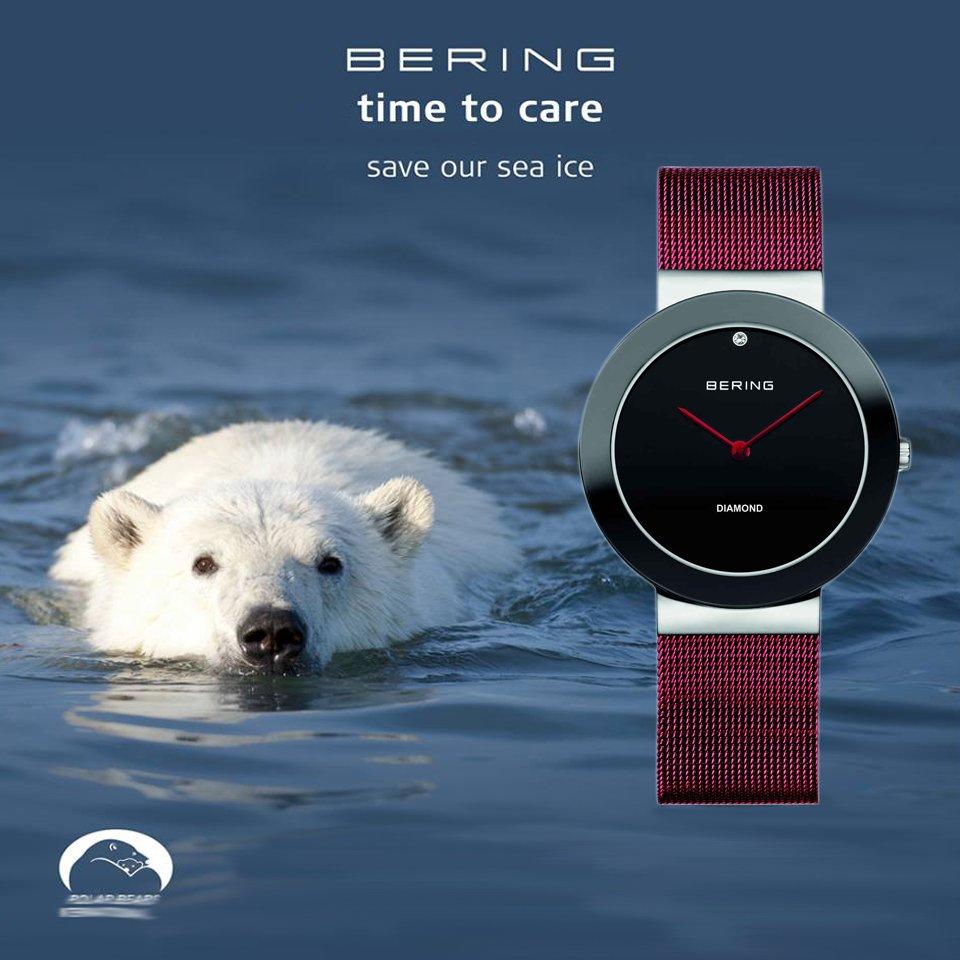 Niezwykle stylowy zegarek Bering 11435-CHARITY CHARITY ze stalową czerwona bransoleta typu mesh oraz tarczę w kolorze głębokiej czerni z czerwonymi wskazówkami.