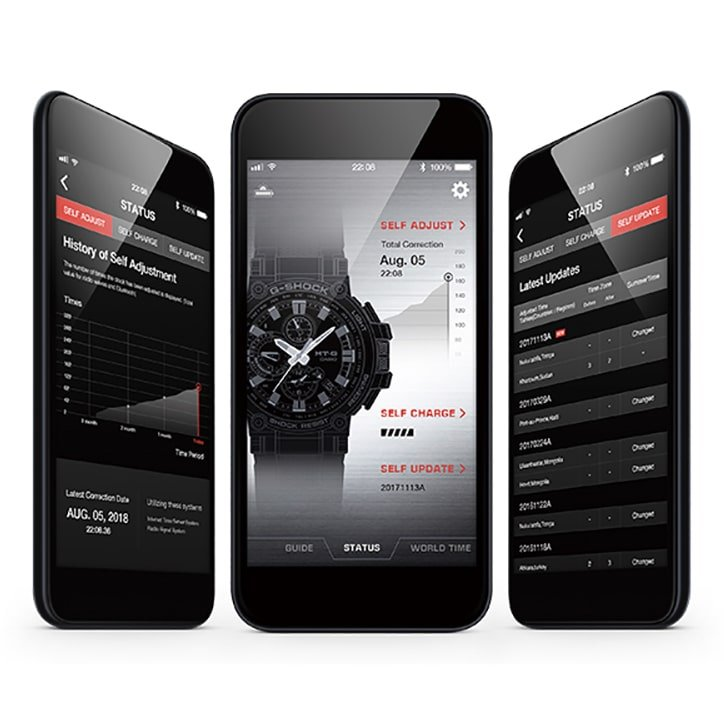 Innowacyjny G-Shock MT-G MTG-B1000B-1A4ER umożliwia połączenie ze smartfonem, dzięki darmowej aplikacji G-Shock Connected.