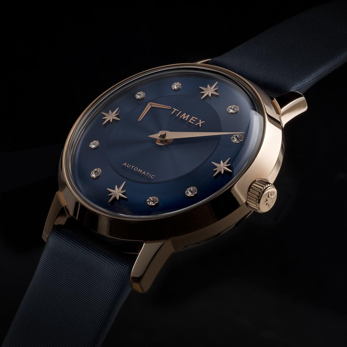 Granatowa tarcza zegarka Timex Crystal Opulence TW2T86100