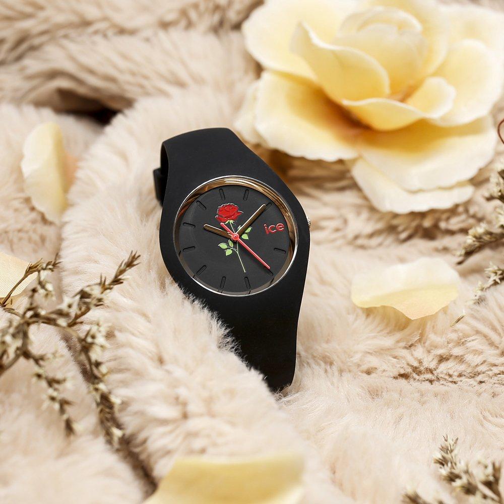 Bajeczny, damski zegarek Ice-Watch ICE.016673 ICE Flower Red Beauty z mechanizmem kwarcowym oraz szkiełkiem mineralnym.