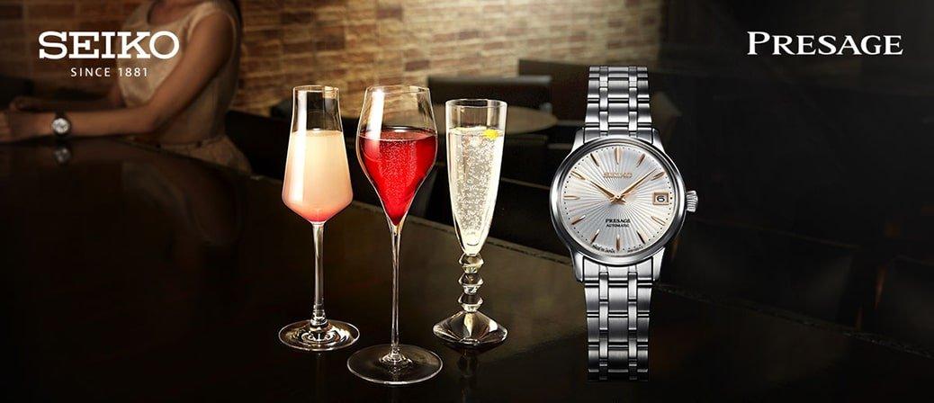 Luksusowy, zegarek Seiko Presage inspirowany klasycznym koktajlem dla pań.