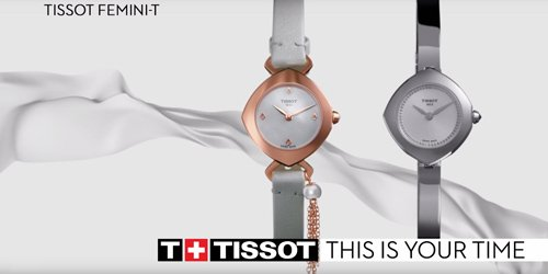 Damskie modele zegarków Tissot Femini-T z szkiełkiem szafirowym.