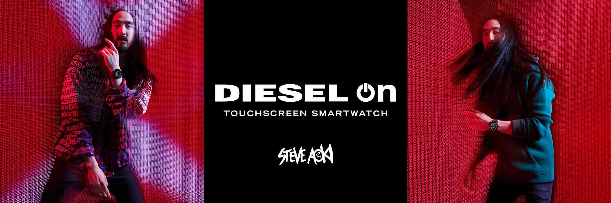 Kwarcowy, męski zegarek Diesel On DZT2008 z dotykowym, wyświetlaczem cyfrowym na pasku z tworzywa sztucznego w czarnym kolorze.