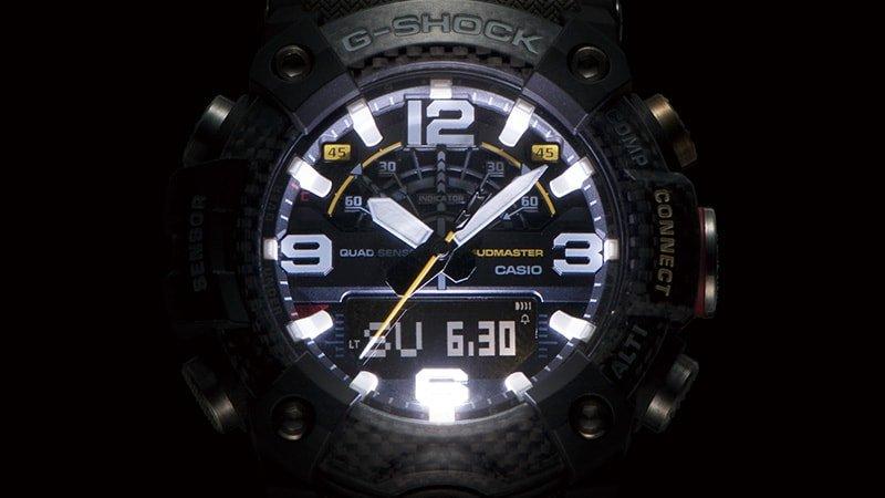 Podświetlenie Auto-LED znajdujące się w zegarku G-Shock Mudmaster.