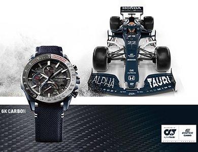 Nowe zegarki EDIFICE z włókna węglowego 6K inspirowane samochodami wyścigowymi we współpracy ze Scuderia AlphaTauri