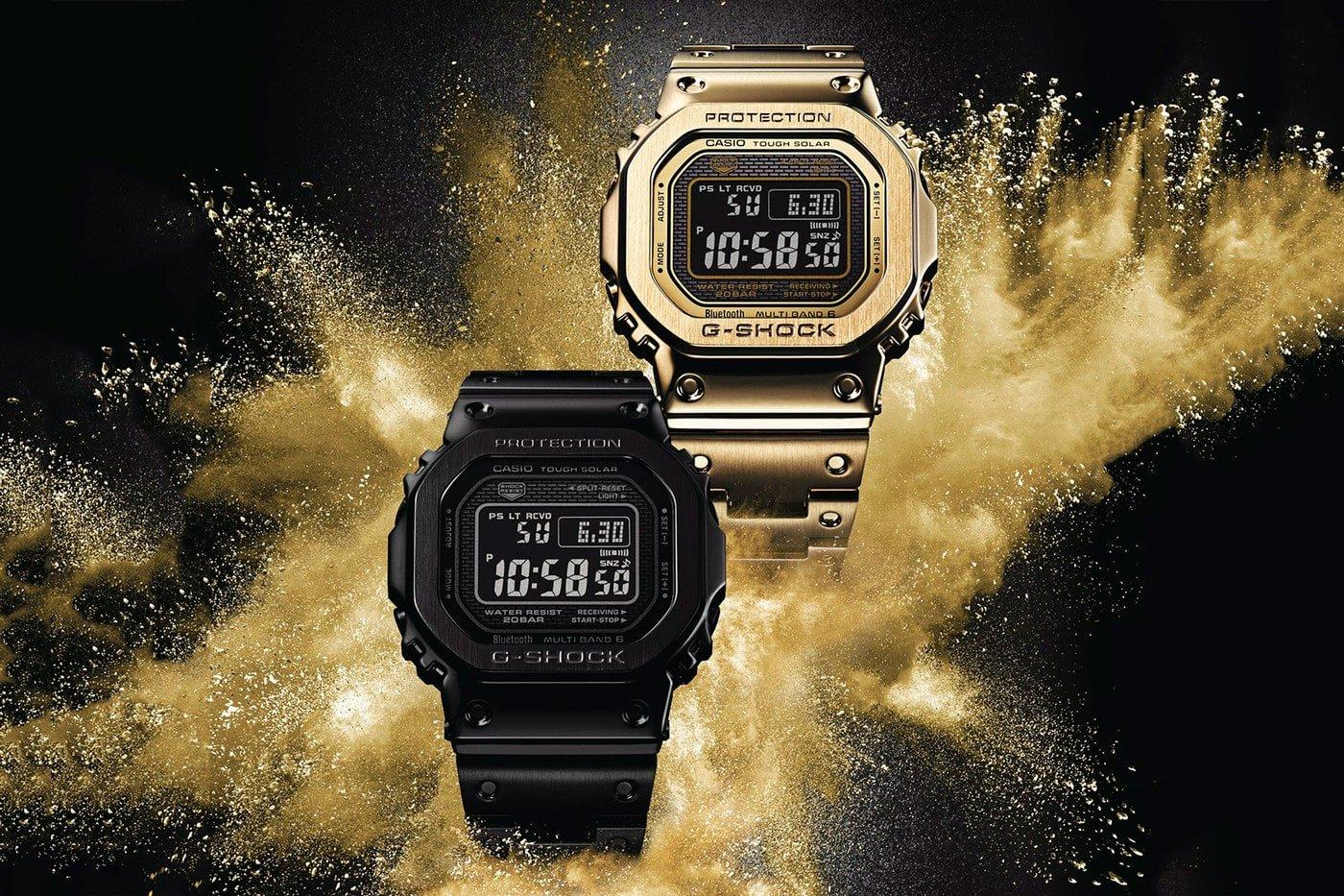 Kultowe, limitowane zegarki G-Shock Full Metal Specials w czarnym oraz złotym kolorze.
