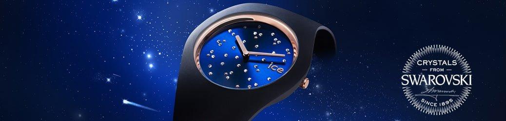 Kosmiczny zegarek ICE Watch ICE.016298 ICE Cosmos na czarnym pasku z granatową tarczą ozdobioną kryształkami Swarovskiego.