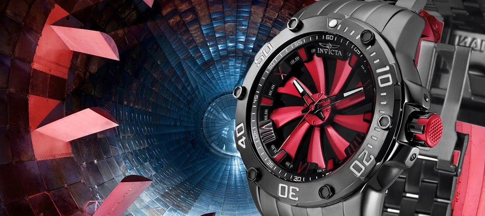 Sportowy zegarek Invicta IN25849 SPEEDWAY TURBINE GAINED MOMENTUM z koperta oraz branzoletą ze stali w czarnym kolorze. Zapięcie bransolety jest zatrzaskowe z zabezpieczeniem.