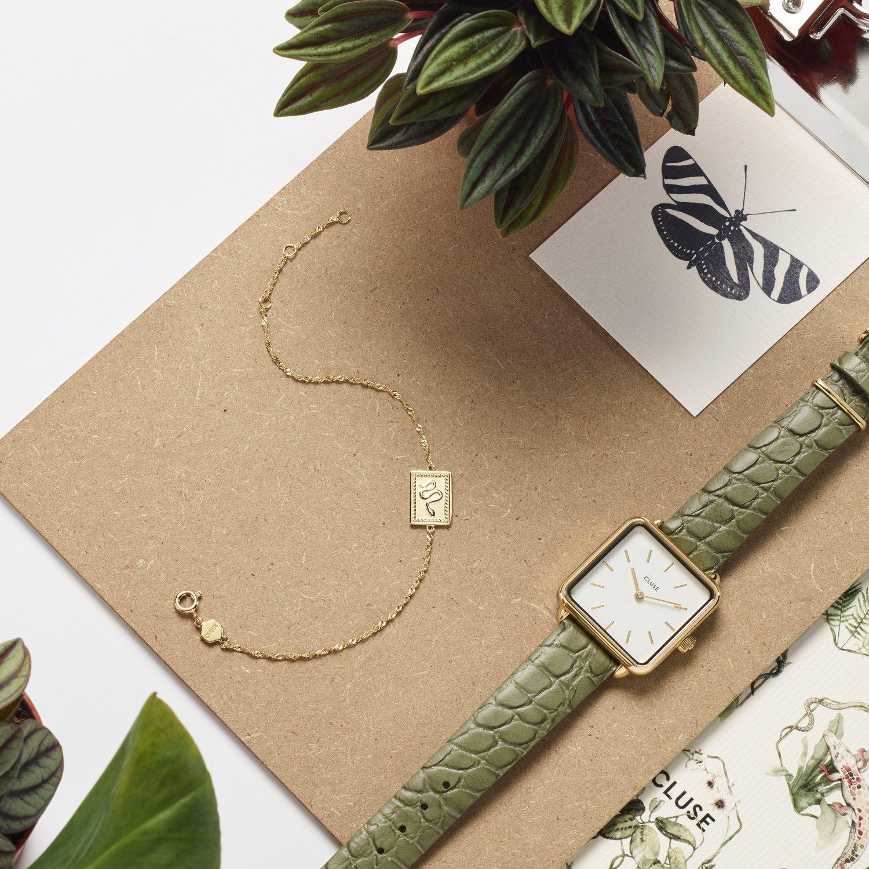 Modny, damski zegarek Cluse CL60016 Gold White/Green Alligator na zielonym pasku inspirowanym skóra aligatora.