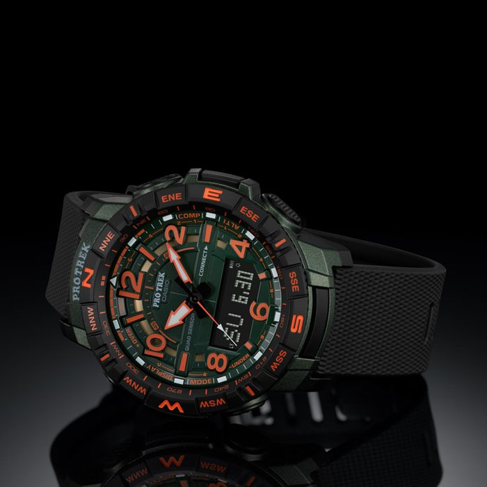 Limitowany japoński zegarek Casio Pro Trek z pomarańczowymi akcentami.
