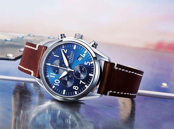 Męski zegarek Grovana na brązowym pasku.