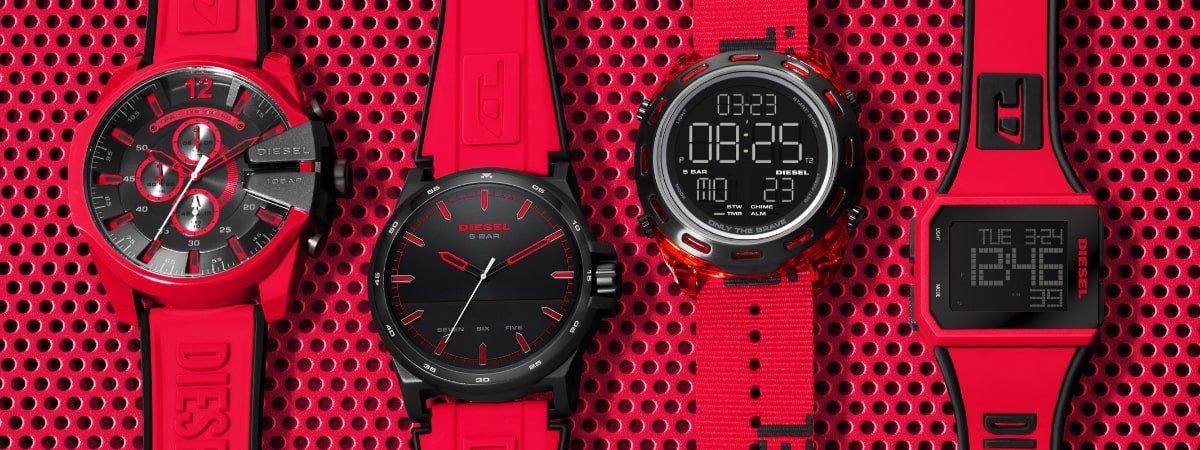 Czerwony i czarny zegarek Diesel - intrygujące połączenie