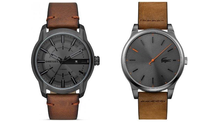 Atrakcyjne zegarki męskie marki Diesel oraz Lacoste na skórznych paskach w kolorach brązowych, Oba zegarki mają czarną tarczę jak i kopertę.