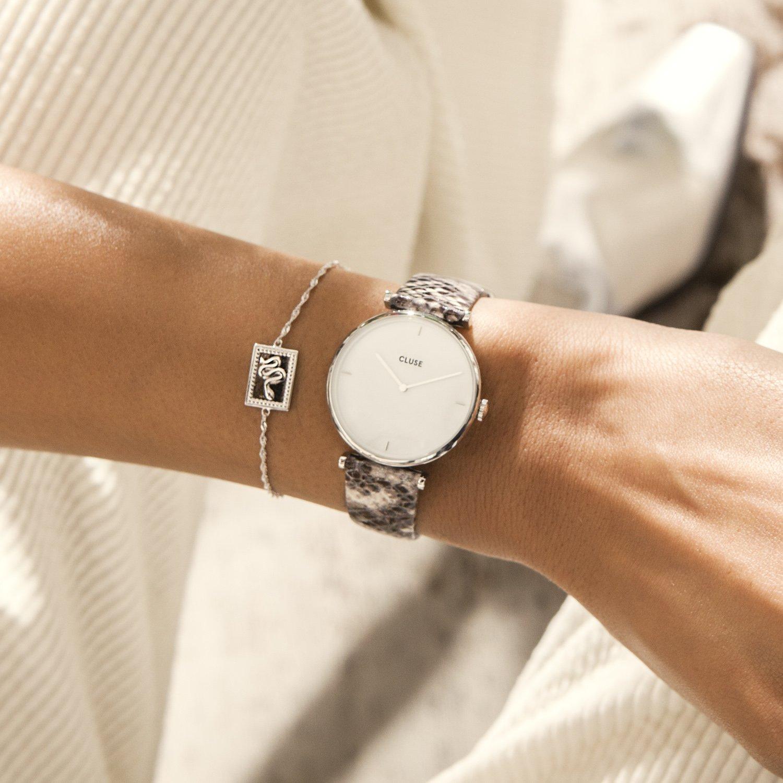 Modny, damski zegarek Cluse CL61009 Silver White Pearl/Soft Grey Python na skórzanym pasku inspirowany skórą pytona.