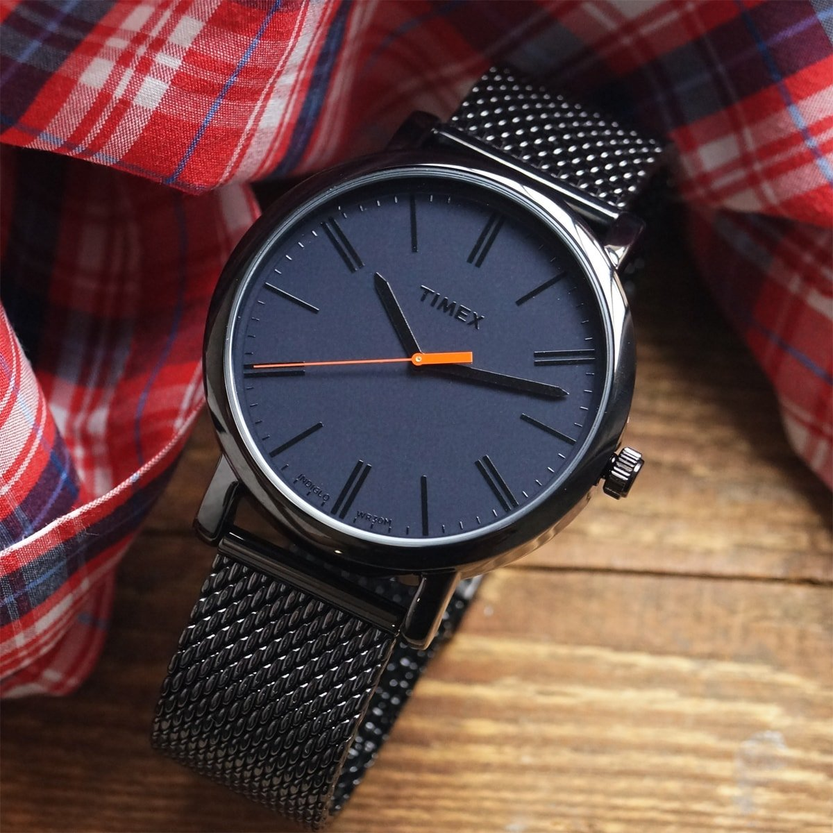 Wysokiej jakości, męski zegarek Timex T2N794M Originals Oversized Mesh na czarnej stalowej bransolecie typu mesh z zapięciem G-Link