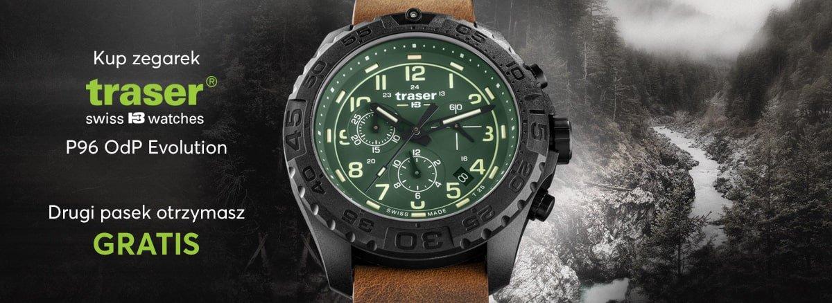 Sportowy, męski zegarek Traser.