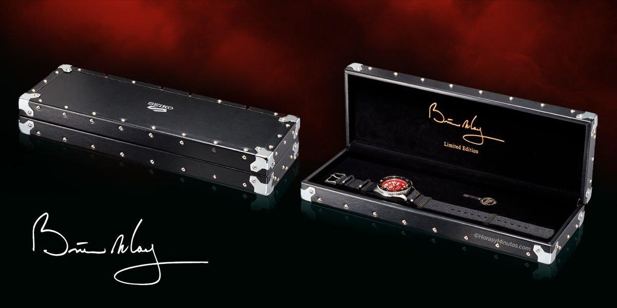 Pudełko na zegarek Seiko 5 SRPE83K1 Red Special przypominające futerał na gitarę