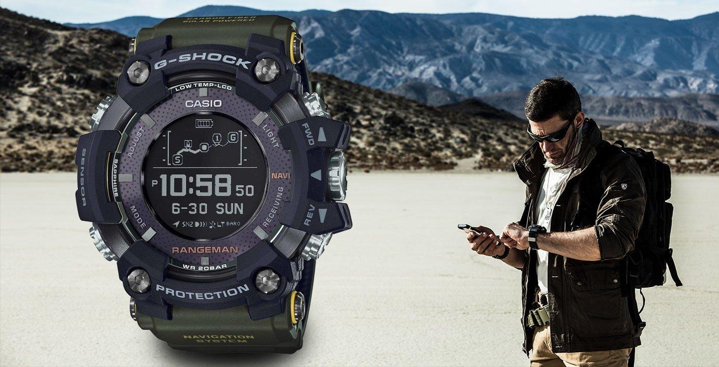 Niepowtarzalny, męski zegarek G-Shock GPR-B1000-1BER Master of G Professional Rangeman posiada militarne barwy koperty i silikonowy pasek, utrzymany w czarnej i ciemnozielonej tonacji.