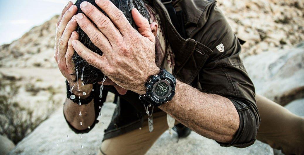 Survivalowy, męski zegarek G-Shock GPR-B1000-1BER Master of G Professional Rangeman posiada niezbędne informacje dotyczące czasu, położenia geograficznego czy pogody.