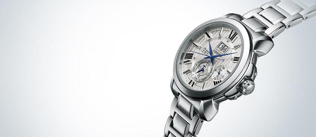 Zegarek Seiko Premier Kinetic z srebrną bransoletą i zdobioną tarczą