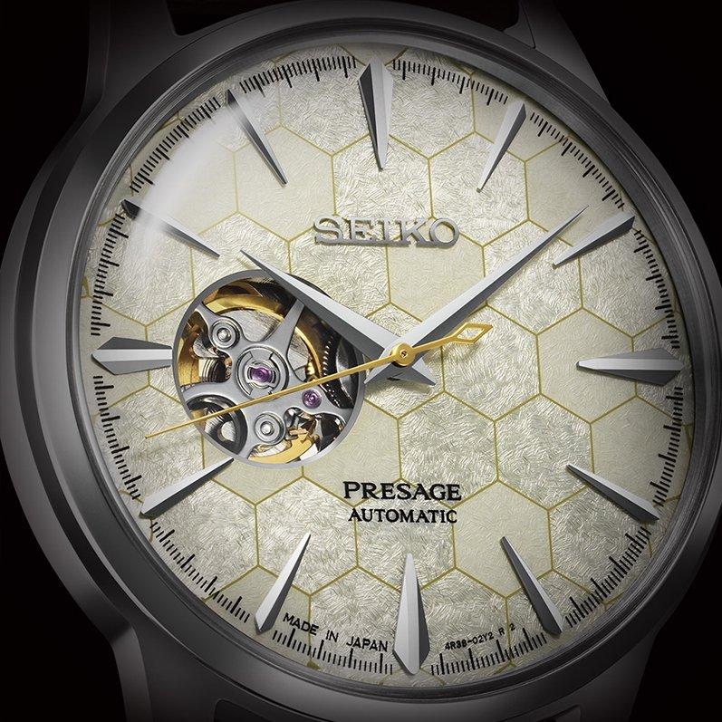 Tarcza w stylu open heart w zegarku Seiko Presage inspirowana plasterm miodu.