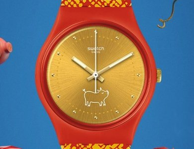 Zegarek Swatch Gem of New Year - świnka z klasą