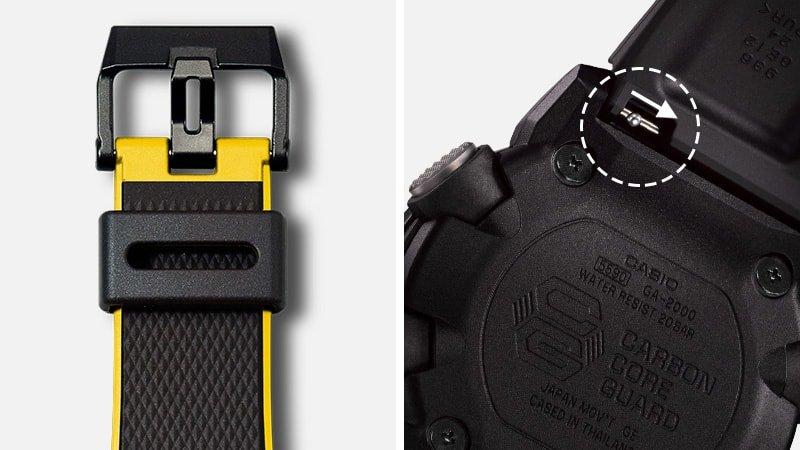 Budowa zegarka G-Shock GA- 2000 umozliwia szybką jak i łatwą wymianę paska.