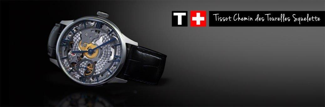 Męski zegarek Tissot T099.405.11.418.00 Chemin Des Tourelles Squelette Mechanical pokazujący wnętrze.