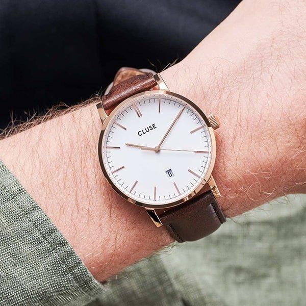 Męski zegarek Cluse na brązowym pasku