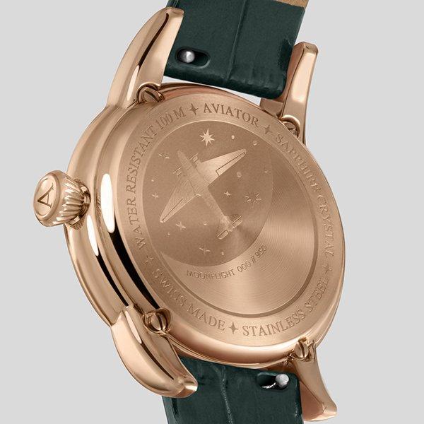 Lotnicza klasa wykończenia zegarków damskich Aviator Moonflight
