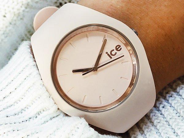 Kremowy zegarek Ice Watch na pasku z minimalistycznym designie.