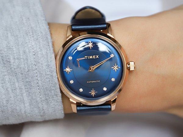 Niebieski zegarek Timez Celestial Opulence z akcentami w kolorze różowego złota