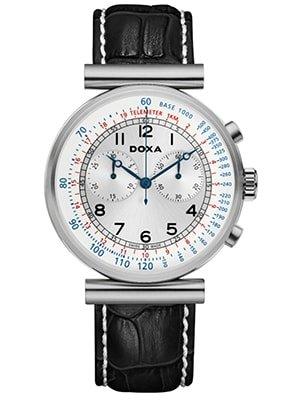 Zegarek Doxa Telemeter z srebrną tarczą na czarnym skórzanym pasku