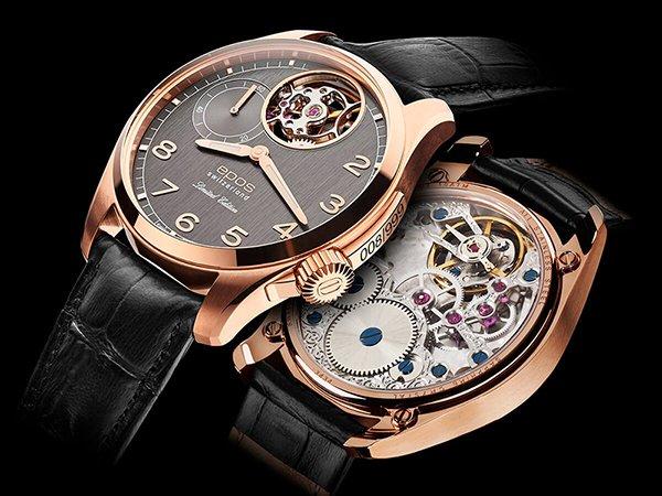 Niezwykły zegarek Epos na czarnym skórzanym pasku z szarą tarczą open heart oraz kopertą w kolorze różowego złota